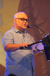 November 2, 2018 - Madiun, East Java, Indonesia - Djoko Raharto, Head of Bank Indonesia Kediri Representative delivered his remarks during the night of the People's Coffee Party which was held in the parking lot of one of the hotels in Madiun City (Credit Image: © Ajun Ally/Pacific Press via ZUMA Wire)