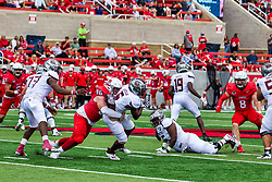 NORMAL, IL - October 02: Jacob Powell tackles Kevon Latulas in the backfield during a college football game between the Bears of Missouri State and the ISU (Illinois State University) Redbirds on October 02 2021 at Hancock Stadium in Normal, IL. (Photo by Alan Look)