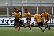 Joss Labadie of Newport County (4) celebrates with teammates after he scores his teams 1st goal. The Emirates FA Cup, 2nd round match, Newport County v Cambridge United at Rodney Parade in Newport, South Wales on Sunday 3rd December 2017.<br /> pic by Andrew Orchard,  Andrew Orchard sports photography.