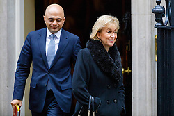 © Licensed to London News Pictures. 10/01/2017. London, UK. Communities and Local Government Secretary SAJID JAVID and Environment Secretary ANDREA LEADSOM attend a cabinet meeting in Downing Street on Tuesday, 10 January 2017. Photo credit: Tolga Akmen/LNP