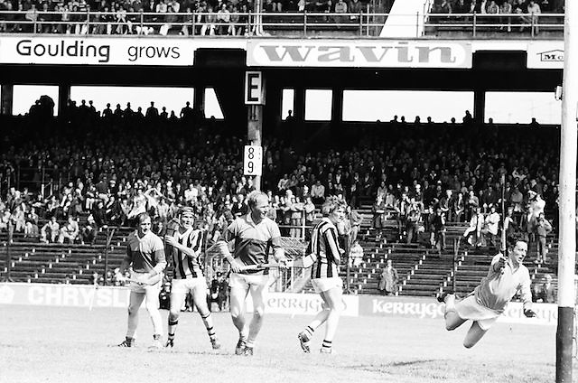 The Kilkenny goalie dives in a failed attempt to save the ball during the All Ireland Senior Leinster Hurling Final Kilkenny v Wexford at Croke Park on the 24th of July 1977. Wexford 3-17 Kilkenny 3-14.