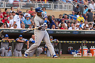 Salvador Perez #13 of the Kansas City Royals bats against the Minnesota Twins on June 27, 2013 at Target Field in Minneapolis, Minnesota.  The Twins defeated the Royals 3 to 1.  Photo by Ben Krause