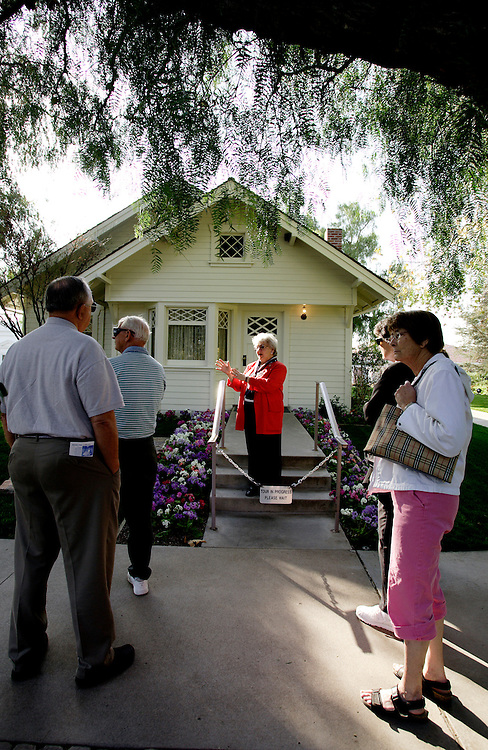 YORBA LINDA, CA, FEBRUARY 21, 2007: The Richard Nixon Library and Birthplace in Yorba Linda, California. A tour guide explains the history of the home where President Nixon was born. (Photograph by Todd Bigelow/Aurora)