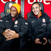 Galatasaray's Tebily Didier Yves Drogba (L) and Noureddine Amrabat (R) during their Turkish Super League soccer match Galatasaray between Genclerbirligi at the TT Arena at Seyrantepe in Istanbul Turkey on Friday, 08 March 2013. Photo by Aykut AKICI/TURKPIX