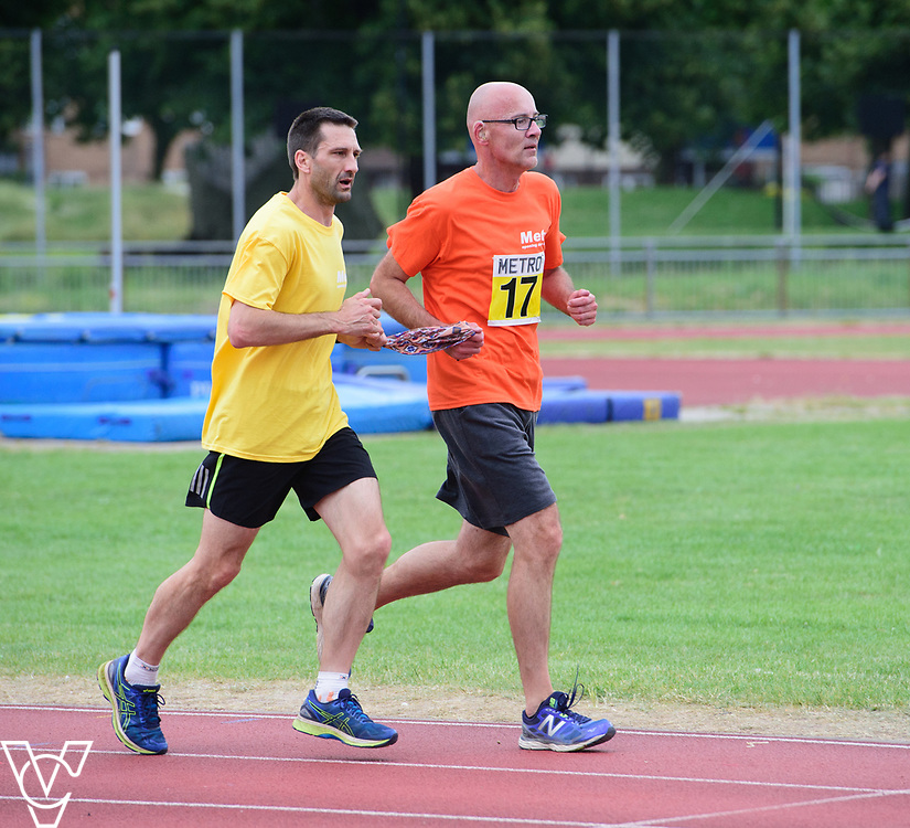 Event: 5000 meter relay<br /> Competitors, from left: David Beynon<br /> <br /> Metro Blind Sport's 42nd Athletics Open, held at Mile End Stadium, Tower Hamlets, London.<br /> <br /> Picture: Chris Vaughan Photography for Metro Blind Sports<br /> Date: June 16, 2018