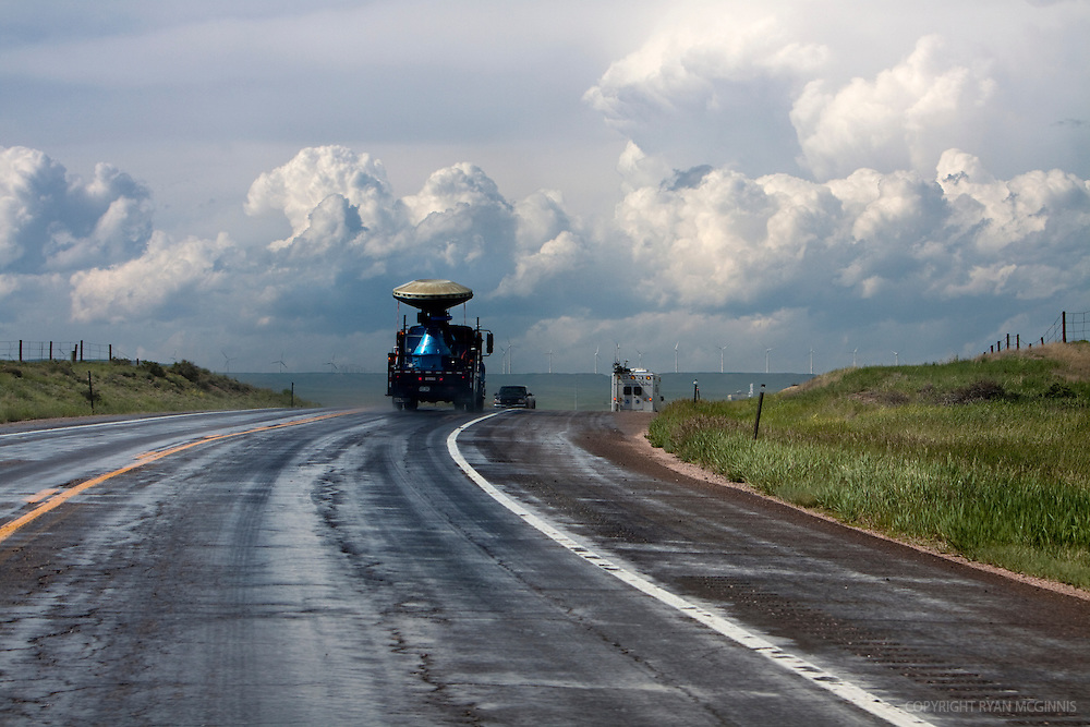 A Doppler on Wheels radar truck drives toward a storm in southern Kansas, June 4, 2009.  <br /> <br /> Project Vortex 2 is a two year National Science Foundation and NOAA funded science mission to study tornadoes and supercell thunderstorms.