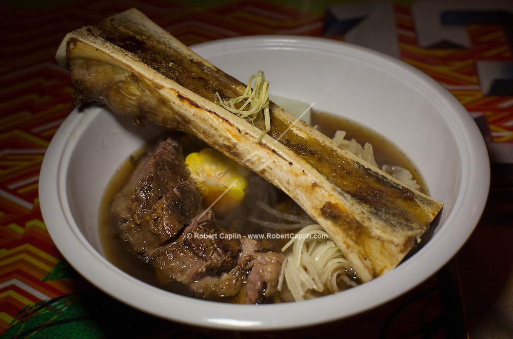 Bulalo, a beef stew made from beef shanks and marrow bones at Jeepney, a Filipino restaurant in New York...Photo by Robert Caplin..