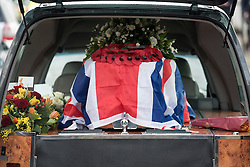 © Licensed to London News Pictures. 30/01/2015. Brighton, UK The Funeral today, 30th January 2015, of runaway D-Day veteran Bernard Jordan and his wife Irene who died within seven days of each other. Mr Jordan made made news headlines across the world when he left his care home to attend the 70th anniversary D-Day events in France, June 2014.  The funeral took place at St Michael and All Angels Church. Photo credit : Stephen Simpson/LNP