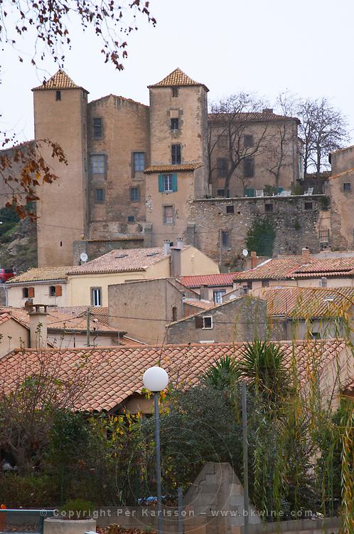 Chateau and village. Argens-Minervois. Languedoc. France. Europe.