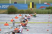 Eton Dorney, Windsor, Great Britain,..2012 London Olympic Regatta, Dorney Lake. Eton Rowing Centre, Berkshire[ Rowing]...Description: Start Men's single Sculls BEL M1X NZL M1X CRO M1X    11:02:03  Tuesday  31/07/2012.[Mandatory Credit: Peter Spurrier/Intersport Images].