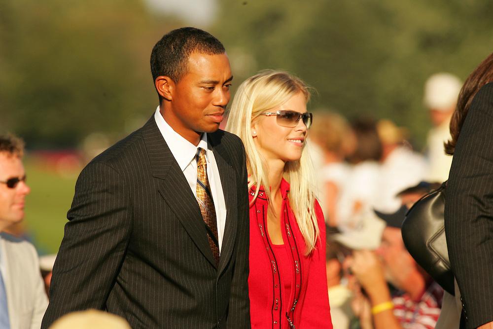 Tiger Woods.Elin Nordegren..2004 Ryder Cup Matches.Thursday, September16 2004.Oakland Hills CC.Bloomfield Hills, MI..photograph by Darren Carroll