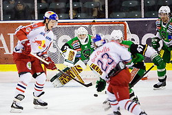 02.11.2012, Hala Tivoli, Ljubljana, SLO, EBEL, HDD Telemach Olimpija Ljubljana vs EC Red Bull Salzburg, 18. Runde, im Bild Tyler Maxwell (EC Red Bull Salzburg, #23) shots on goal by Jerry Kuhn (HDD Telemach Olimpija, #35)// during the Erste Bank Icehockey League 18th Round match between HDD Telemach Olimpija Ljubljana and EC Red Bull Salzburg at the Hala Tivoli, Ljubljana, Slovenia on 2012/11/02. EXPA Pictures © 2012, PhotoCredit: EXPA/ Sportida/ Matic Klansek Velej..***** ATTENTION - OUT OF SLO *****