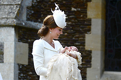 File photo dated 05/07/2015 of The Duchess of Cambridge carries Princess Charlotte as they arrive at the Church of St Mary Magdalene in Sandringham, Norfolk, for her christening as The Duke and Duchess of CambridgeÕs third child will be baptised as a Christian.