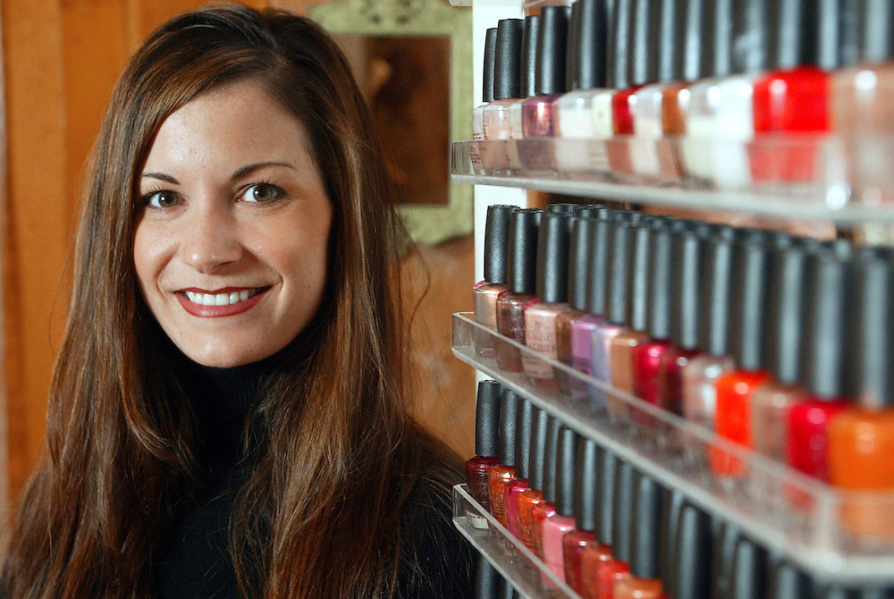 (PBUSINESS)  Red Bank 1/15/2002   Erica Chrampanis the owner and manicurist of the Manigique Nail Shop in the Galleria for a Monday On The Job feature  Michael J. Treola Staff Photographer.....MJT