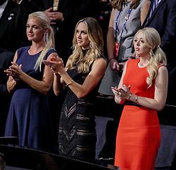 July 21, 2016 - Cleveland, Ohio, U.S - Members of the Trump family at the Republican National Convention..L-R, Vanessa Haydon (wife of Donald Trump Jr.)  Lara Yunaska ( wife of Eric Trump) Tiffany Trump  (Credit Image: © Mark Reinstein via ZUMA Wire)