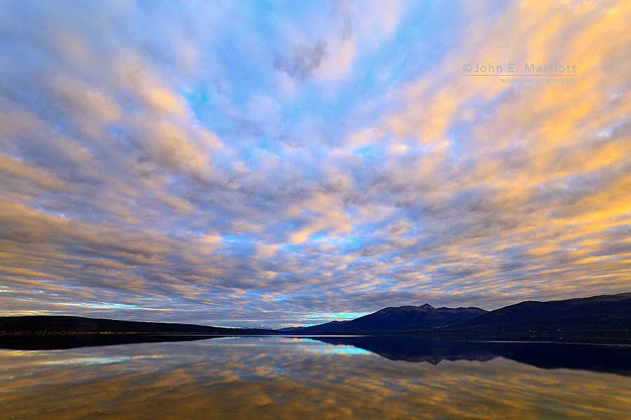 Quiet Lake at sunset along the South Canol Road, Yukon, Canada