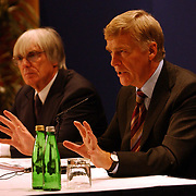 Max Mosely (R) and Bernie Ecclestone (L) answer questions regarding the regulation changes to the next seasons Formula One.