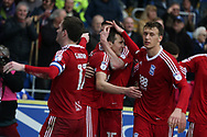 Lukas Jutkiewicz of Birmingham city (2nd left) celebrates with his teammates after he scores his teams 1st goal to equalise at 1-1. EFL Skybet championship match, Cardiff city v Birmingham City at the Cardiff City Stadium in Cardiff, South Wales on Saturday 11th March 2017.<br /> pic by Andrew Orchard, Andrew Orchard sports photography.