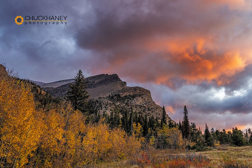 Sunrise clouds over Bear Mountain in Glacier National Park, Montana, USA