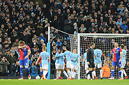 Manchester City Forward, Gabriel Jesus (33) scores in front of the Manchester City fans 1-0 goal during the Champions League match between Manchester City and FC Basel at the Etihad Stadium, Manchester, England on 7 March 2018. Picture by Mark Pollitt.