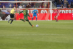 March 10, 2018 - Harrison, New Jersey, United States - David Guzman (20) of Portland Timbers kicks ball during regular MLS game against New York Red Bulls at Red Bull Arena Red Bulls won 4 - 0 (Credit Image: © Lev Radin/Pacific Press via ZUMA Wire)