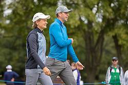 Great Britain's Catriona Matthew and playing partner Charlie Ford walk off the 1st tee during day ten of the 2018 European Championships at Gleneagles PGA Centenary Course.