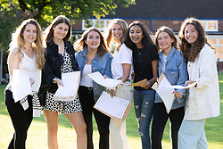 © Licensed to London News Pictures. 15/08/2019. Solihull, West Midlands UK. Solihull School A level results. Pictured from left, Rebecca, Tabitha, Marisa, Phoebe, Simran, Cayla, Katie. Photo credit: Dave Warren/LNP