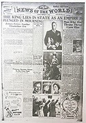 The 'News of the World' Newspaper 10th July 2011. The commemorative final edition of the newspaper carries a re-print of the Issue, marking the death of King George VI in 1952
