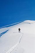Alaska, Chugach State Park. Backcountry skiing near Eagle River.