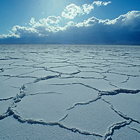 Polygonal patterns criss cross a salt pan near Badwater, the lowest and hottest place in North America, in California's Death Valley National Park.  Behind are the arid Panamint Mountains.