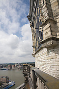 Huge face of clock on tower of Grote Kerk cathedral church, Dordrecht, Netherlands