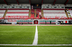 General view along the half-way line across the pitch before the Ladbrokes Scottish Premiership match at the SuperSeal Stadium, Hamilton.