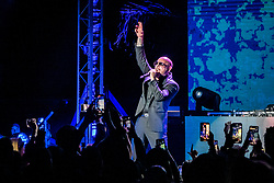 Pitbull performs during the grand opening celebration for the Residences by Armani Casa condominium tower in Sunny Isles.