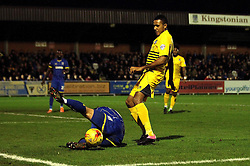 Cristian Montano of Bristol Rovers is tackled by Dannie Bulman of AFC Wimbledon - Mandatory byline: Robbie Stephenson/JMP - 07966 386802 - 26/12/2015 - FOOTBALL - Kingsmeadow Stadium - Wimbledon, England - AFC Wimbledon v Bristol Rovers - Sky Bet League Two
