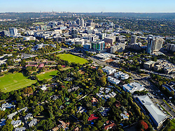 JOHANNESBURG, April 21, 2017  Photo taken on April 18, 2017 shows an aerial view of Sandton, north of Johannesburg, South Africa. The City of Johannesburg Local Municipality is situated in the northeastern part of South Africa with a population of around 4 million. Being the largest city and economic center of South Africa, it has a reputation for its man-made forest of about 10 million trees.  gl) (Credit Image: © Xinhua via ZUMA Wire)
