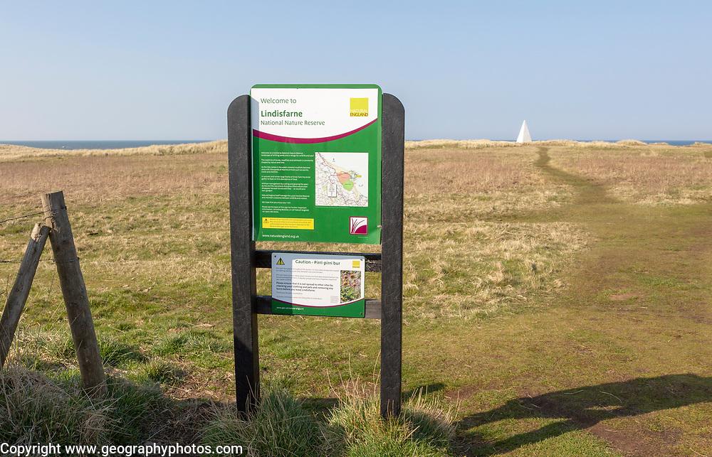 Sign for Lindisfarne National Nature Reserve, Holy Island,  Northumberland, England, UK