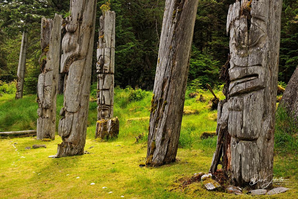 SGang Gwaay Island, UNESCO World Heritage site, Gwaii Haanas National Park- Mortuary Poles, Haida Gwaii (Queen Charlotte Islands) , British Columbia, Canada
