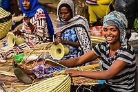 Women weaving mesob baskets, <br /> Bahir Dar, Ethiopia.