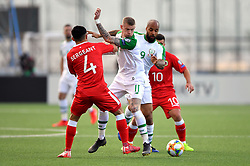 Gibraltar's John Sergeant (left) and Republic of Ireland's James McClean (second left) battle for the ball during the UEFA Euro 2020 Qualifying, Group D match at the Victoria Stadium, Gibraltar.
