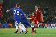Philippe Coutinho of Liverpool is tackled by Cesar Azpilicueta of Chelsea (l). Premier League match, Liverpool v Chelsea at the Anfield stadium in Liverpool, Merseyside on Saturday 25th November 2017.<br /> pic by Chris Stading, Andrew Orchard sports photography.
