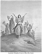 Jephthah's Daughter Coming to Meet Her Father Judges 11:34 From the book 'Bible Gallery' Illustrated by Gustave Dore with Memoir of Dore and Descriptive Letter-press by Talbot W. Chambers D.D. Published by Cassell & Company Limited in London and simultaneously by Mame in Tours, France in 1866