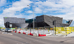 Exterior view of new Victoria and Albert Museum under construction in Dundee , Scotland, Britain.
