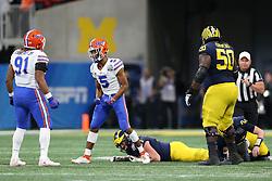 Florida Gators defensive back CJ Henderson #5 reacts to a sack during the Chick-fil-A Peach Bowl, Saturday, December 29, 2018, in Atlanta. (Jason Parkhurst via Abell Images for Chick-fil-A Peach Bowl)