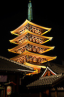 The Five Storey Pagoda at Sensoji was built in 942 along with the Main Hall by military commander Taira no Kinmasa. Along with the other buildings, it has been successively lost to fire and subsequently reconstructed. In 1648, Tokugawa Iemitsu rebuilt the pagoda in 1648 along with other structures including the Main Hall and Hozomon Gate. The government declared the pagoda a national treasure in 1911
