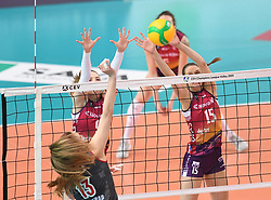 Margarita Kurilo of Lokomotiv and Nina Stojiljkovic, Ela Pintar of NKBM Branik during the volleyball match between NKBM Branik Maribor and Lokomotiv Kaliningrad, of CEV Volleyball Champions League Volley 2020, Women, Pool B, Leg 5, on Februar 04, 2020, in Lukna. Photo: Milos Vujinovic /Sportida