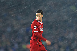 10th December 2017 - Premier League - Liverpool v Everton - Philippe Coutinho of Liverpool stands in the snow blizzard - Photo: Simon Stacpoole / Offside.