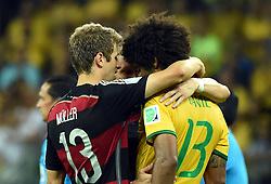 08.07.2014, Mineirao, Belo Horizonte, BRA, FIFA WM, Brasilien vs Deutschland, Halbfinale, im Bild Brazil's Dante (R, front) is consoled by Germany's Thomas Muller (L, front) // during Semi Final match between Brasil and Germany of the FIFA Worldcup Brazil 2014 at the Mineirao in Belo Horizonte, Brazil on 2014/07/08. EXPA Pictures © 2014, PhotoCredit: EXPA/ Photoshot/ Liu Dawei<br /> <br /> *****ATTENTION - for AUT, SLO, CRO, SRB, BIH, MAZ only*****