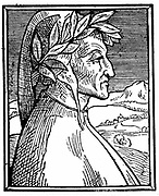 Dante Alighieri (1265-1321)  Italian poet.  Woodcut portrait published 1521, thought to be from miniature by Guilio Clovis