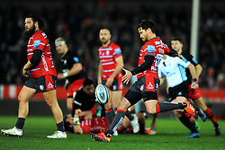 Danny Cipriani of Gloucester Rugby clears the ball - Mandatory by-line: Nizaam Jones/JMP - 22/02/2019 - RUGBY - Kingsholm - Gloucester, England- Gloucester Rugby v Saracens - Gallagher Premiership Rugby