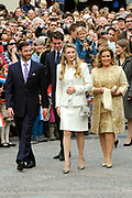 Civil wedding of Grand Duke Guillaume and Princess Stephanie at Hotel de Ville in Luxembourg.<br /> <br /> On the photo: Grand Duke Guillaume and Princess Stephanie with Grand Duchess Maria Teresa